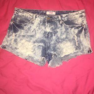 Bright, acid wash jean shorts